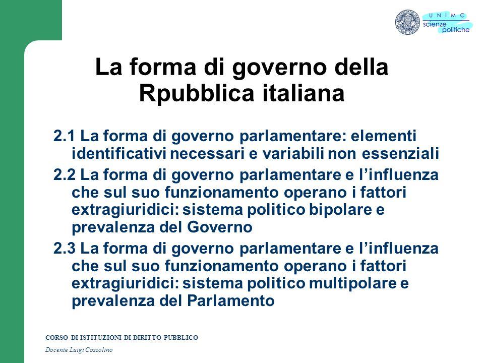 La forma di governo della Rpubblica italiana