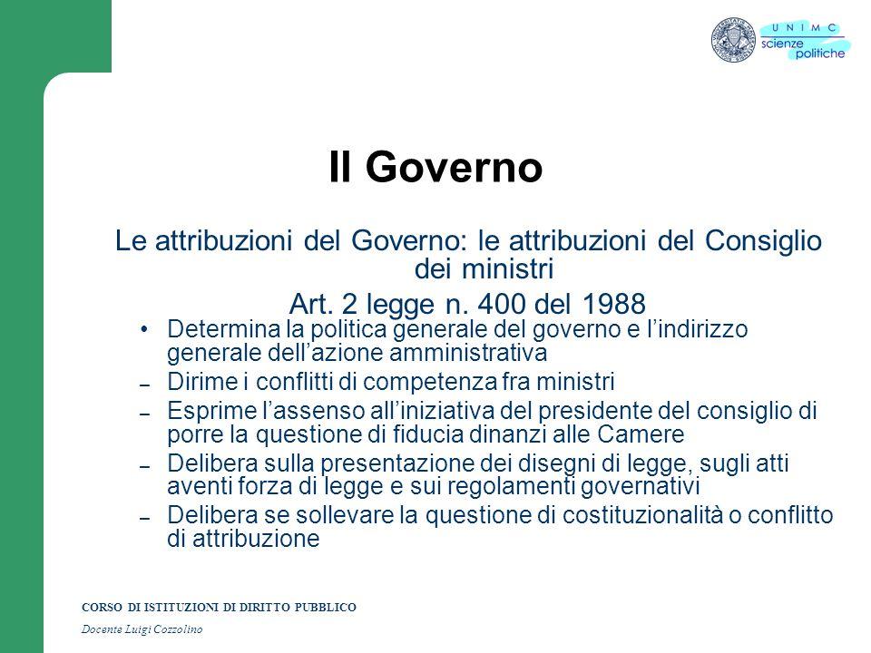 Il Governo Le attribuzioni del Governo: le attribuzioni del Consiglio dei ministri. Art. 2 legge n. 400 del 1988.