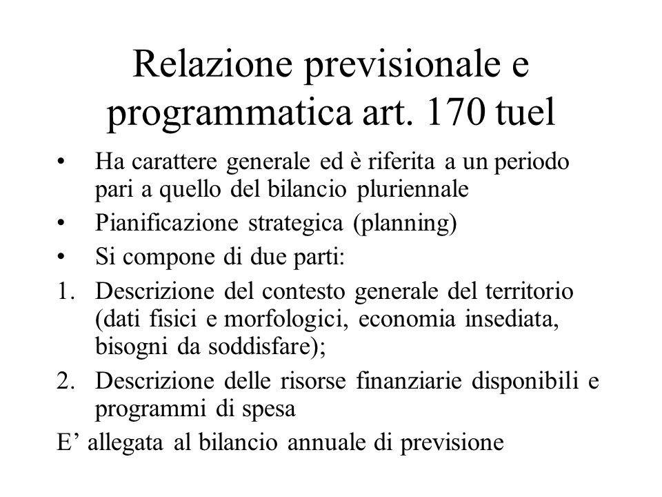 Relazione previsionale e programmatica art. 170 tuel