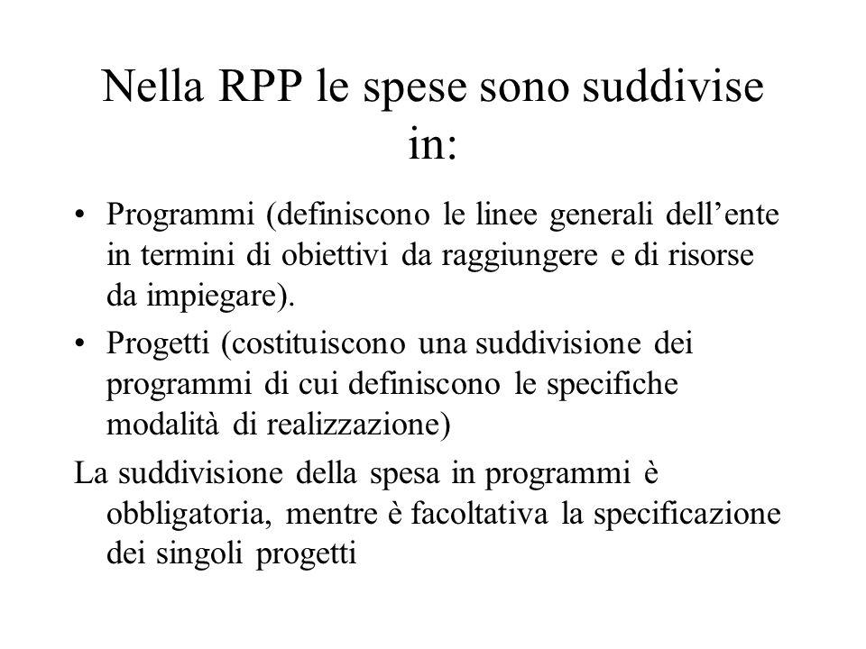 Nella RPP le spese sono suddivise in: