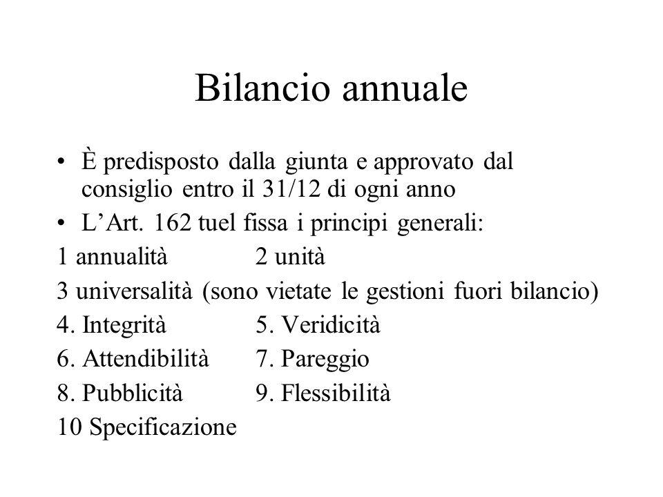 Bilancio annuale È predisposto dalla giunta e approvato dal consiglio entro il 31/12 di ogni anno. L'Art. 162 tuel fissa i principi generali: