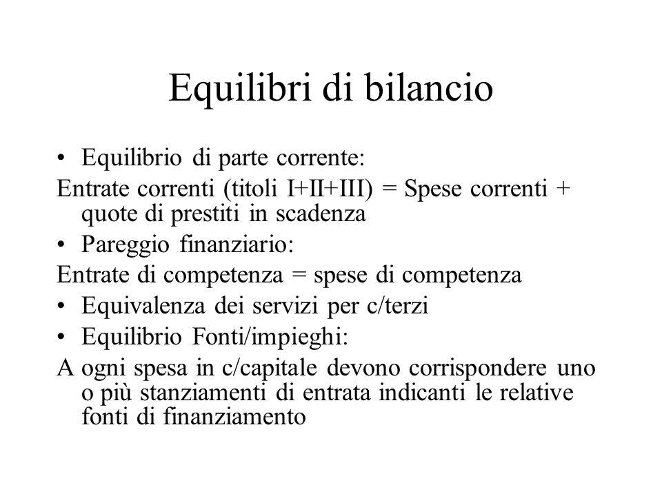 Equilibri di bilancio Equilibrio di parte corrente: