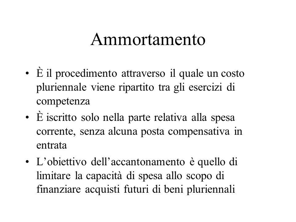Ammortamento È il procedimento attraverso il quale un costo pluriennale viene ripartito tra gli esercizi di competenza.