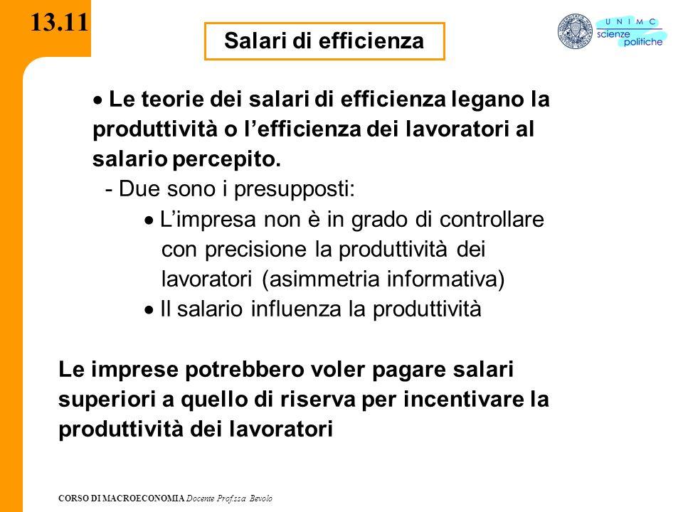 13.11Salari di efficienza. · Le teorie dei salari di efficienza legano la produttività o l'efficienza dei lavoratori al salario percepito.