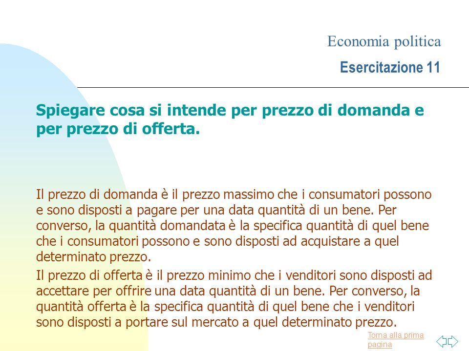 Economia politica Esercitazione 11