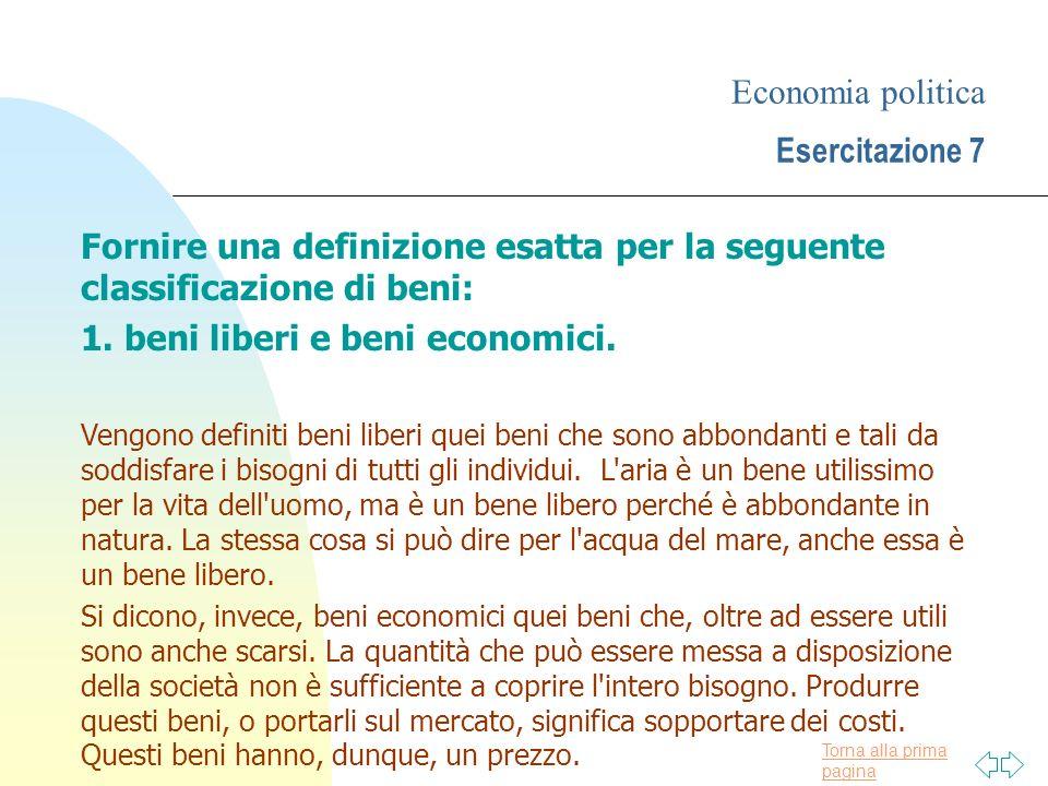 Economia politica Esercitazione 7