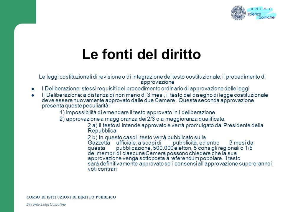 Le fonti del diritto Le leggi costituzionali di revisione o di integrazione del testo costituzionale: il procedimento di approvazione.