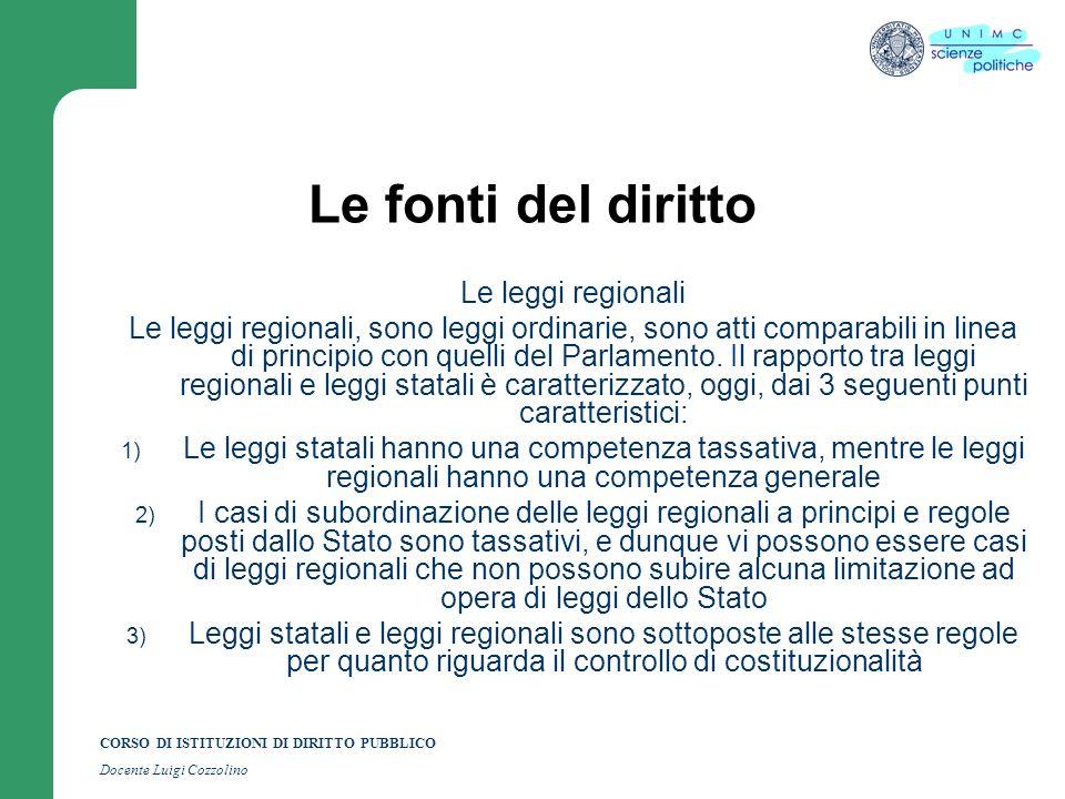 Le fonti del diritto Le leggi regionali