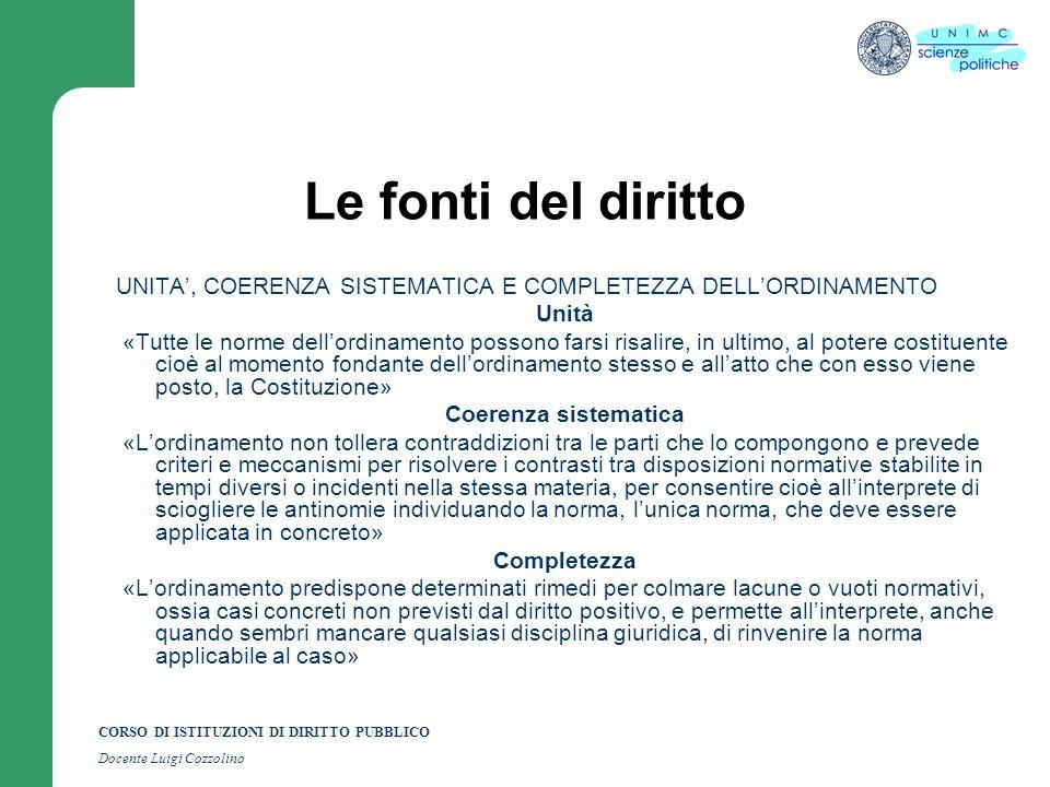 Le fonti del diritto UNITA', COERENZA SISTEMATICA E COMPLETEZZA DELL'ORDINAMENTO. Unità.