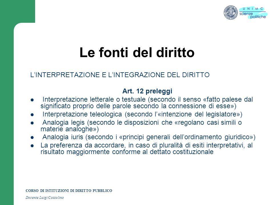 Le fonti del diritto L'INTERPRETAZIONE E L'INTEGRAZIONE DEL DIRITTO