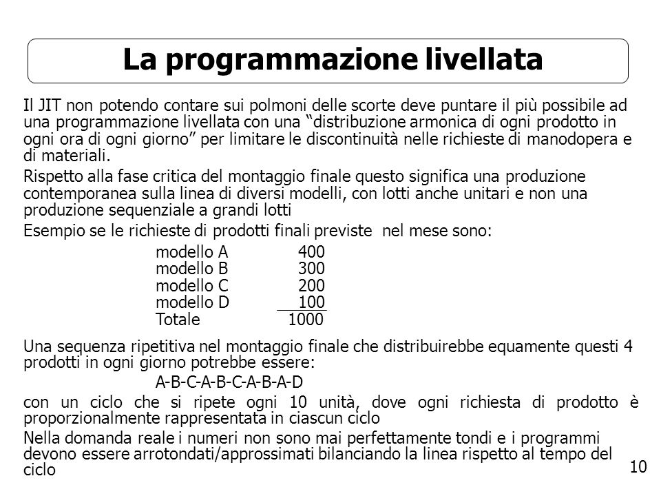 La programmazione livellata