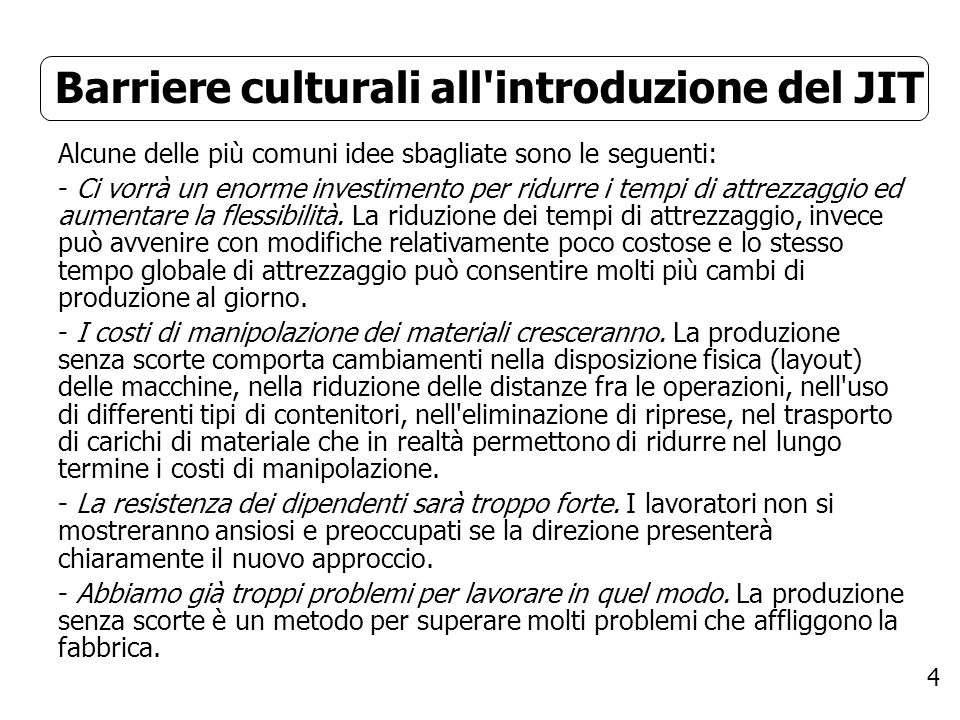 Barriere culturali all introduzione del JIT