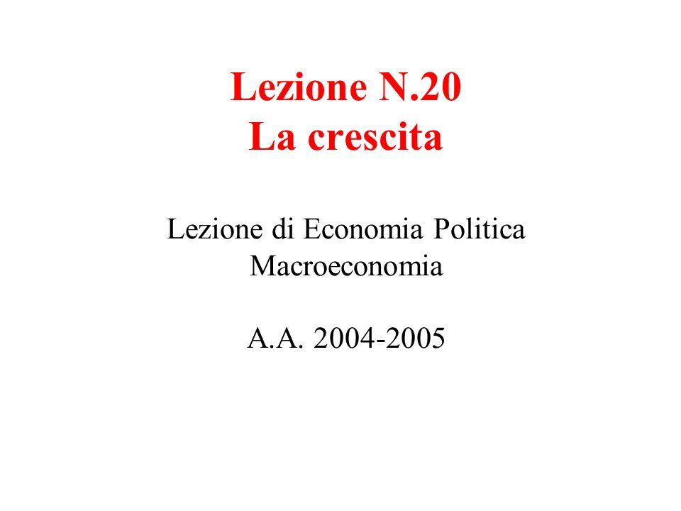 Lezione N. 20 La crescita Lezione di Economia Politica Macroeconomia A