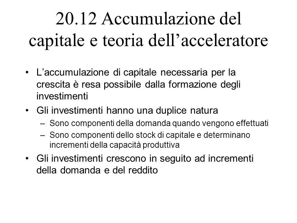 20.12 Accumulazione del capitale e teoria dell'acceleratore