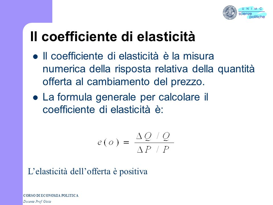 Il coefficiente di elasticità