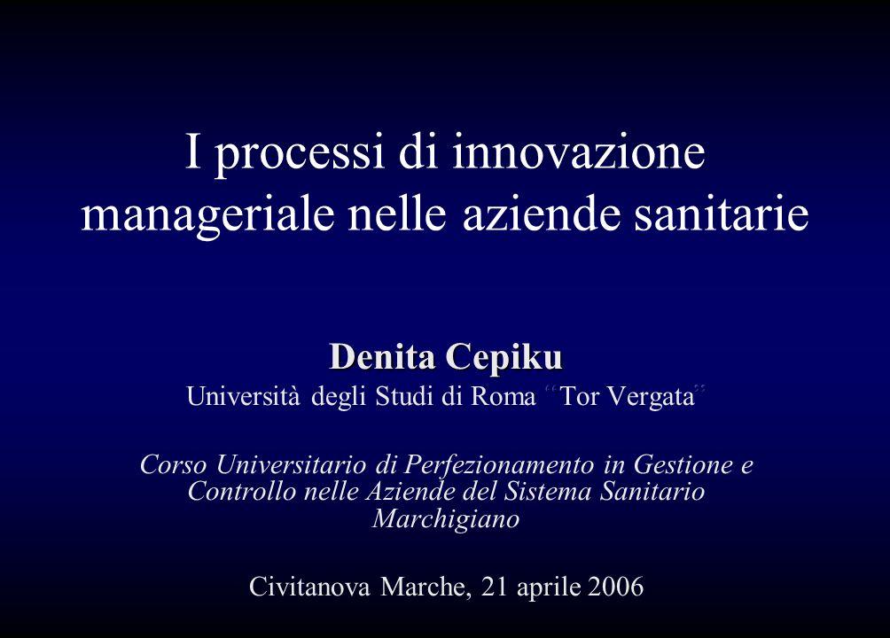 I processi di innovazione manageriale nelle aziende sanitarie
