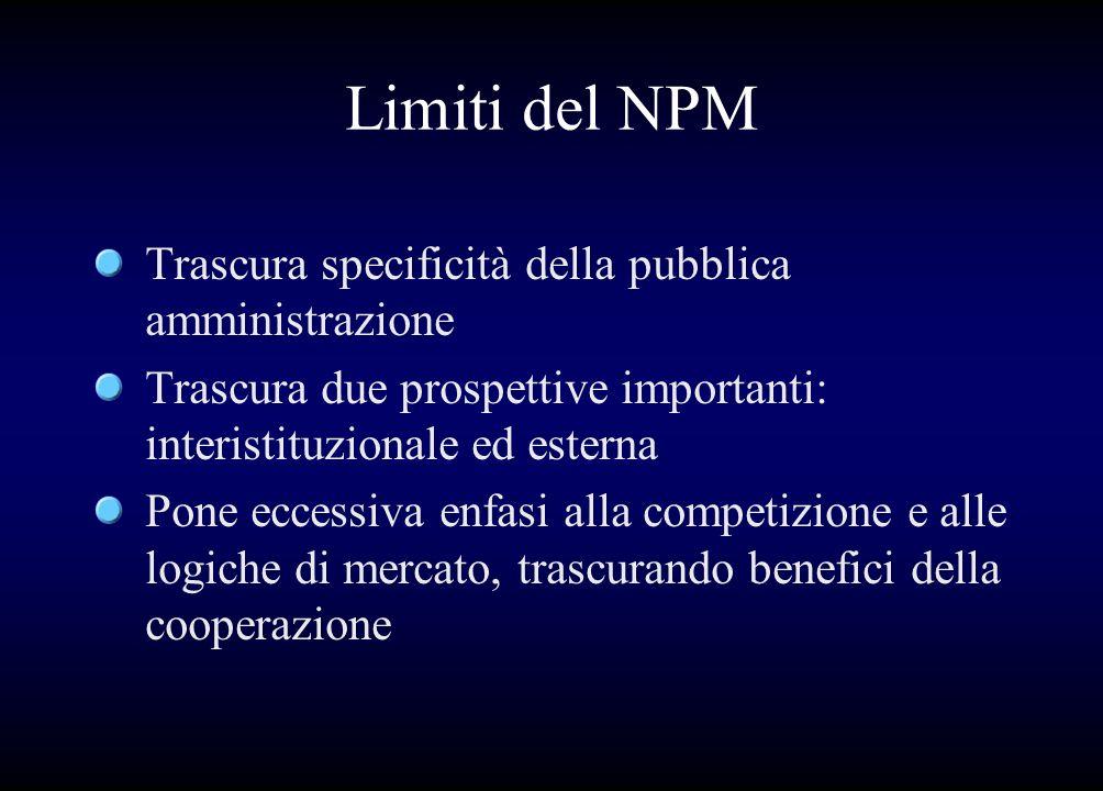 Limiti del NPM Trascura specificità della pubblica amministrazione