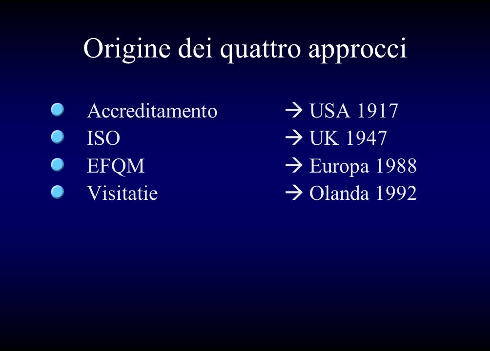 Origine dei quattro approcci