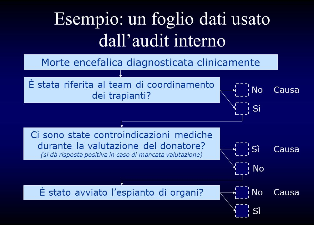 Esempio: un foglio dati usato dall'audit interno