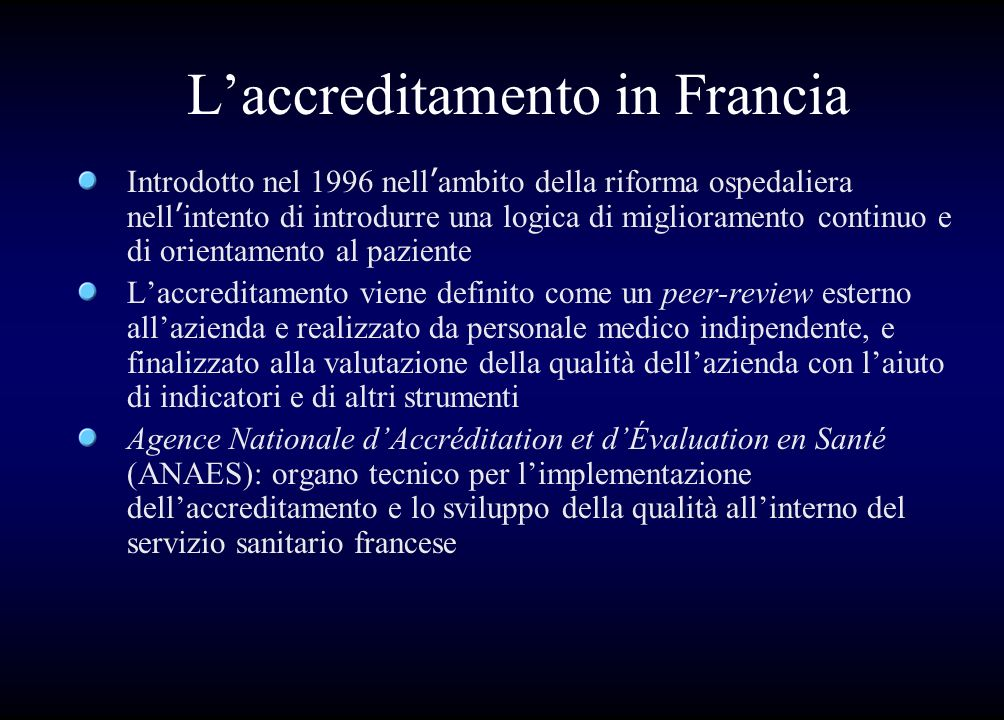 L'accreditamento in Francia