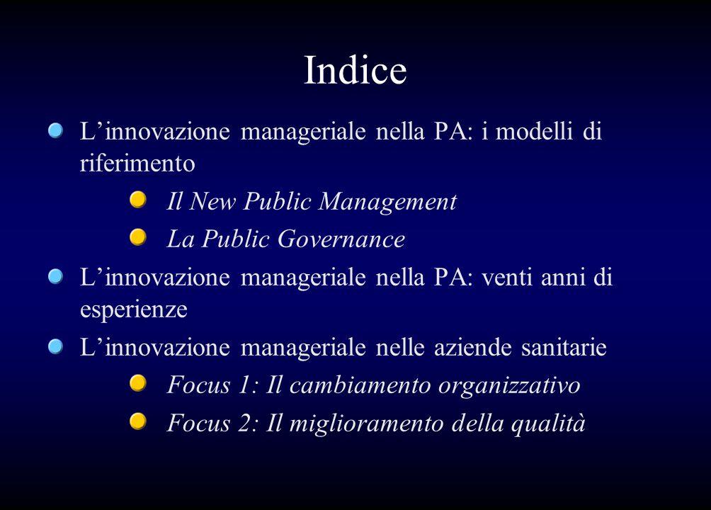 Indice L'innovazione manageriale nella PA: i modelli di riferimento