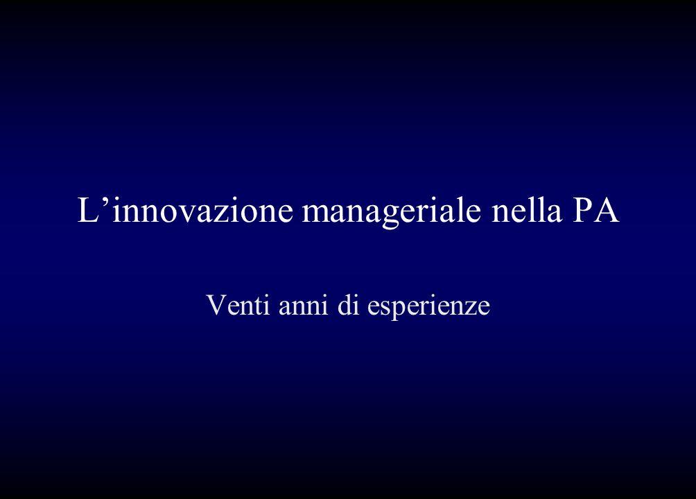 L'innovazione manageriale nella PA