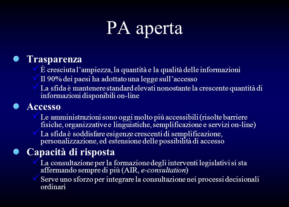 PA aperta Trasparenza Accesso Capacità di risposta