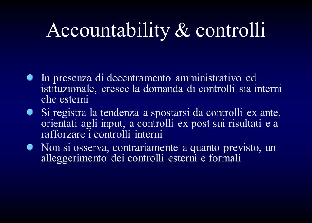 Accountability & controlli