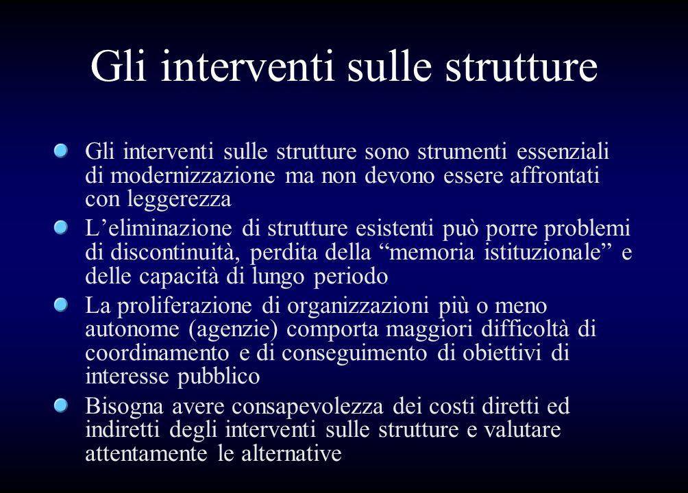 Gli interventi sulle strutture