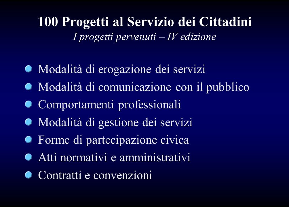 100 Progetti al Servizio dei Cittadini I progetti pervenuti – IV edizione