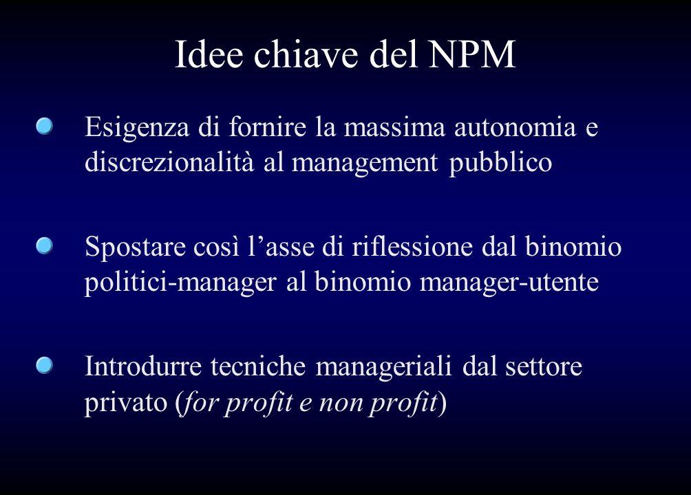 Idee chiave del NPM Esigenza di fornire la massima autonomia e discrezionalità al management pubblico.