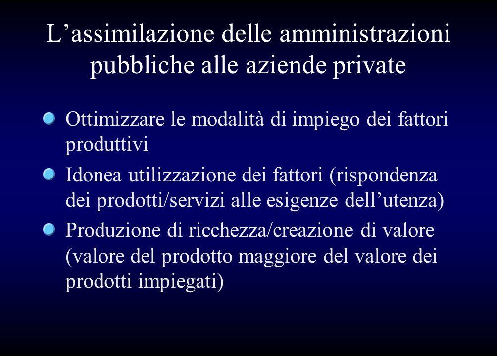 L'assimilazione delle amministrazioni pubbliche alle aziende private