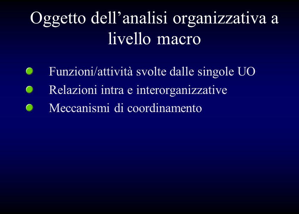 Oggetto dell'analisi organizzativa a livello macro