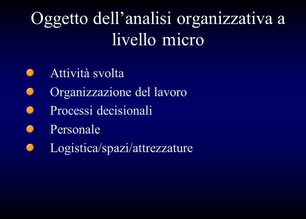 Oggetto dell'analisi organizzativa a livello micro