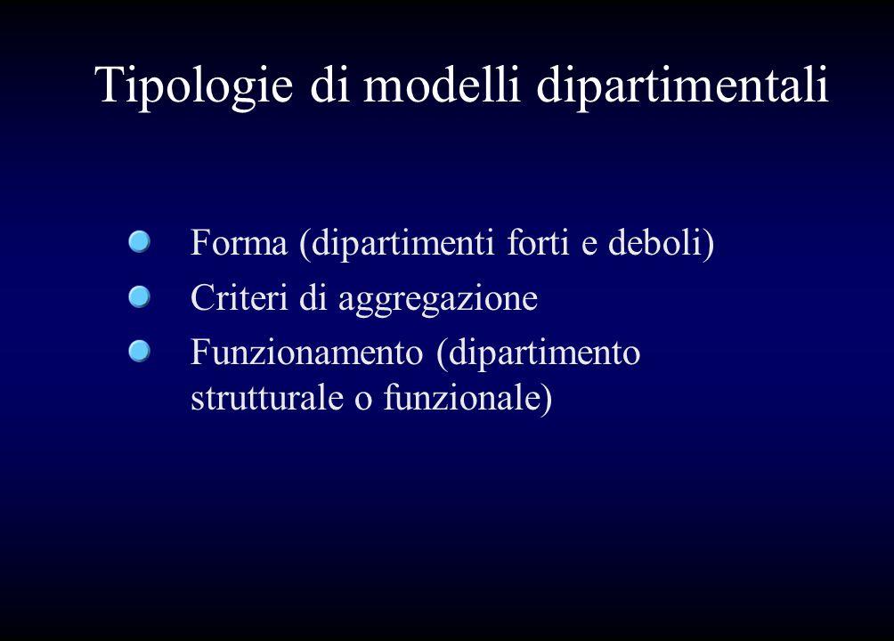 Tipologie di modelli dipartimentali