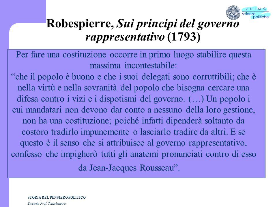 Robespierre, Sui principi del governo rappresentativo (1793)