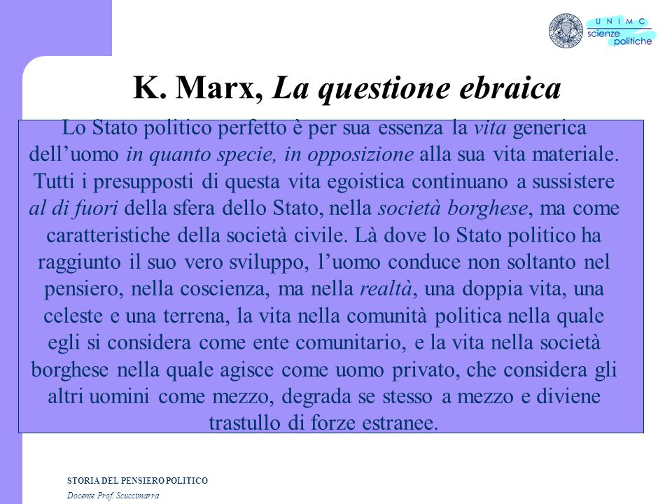 K. Marx, La questione ebraica