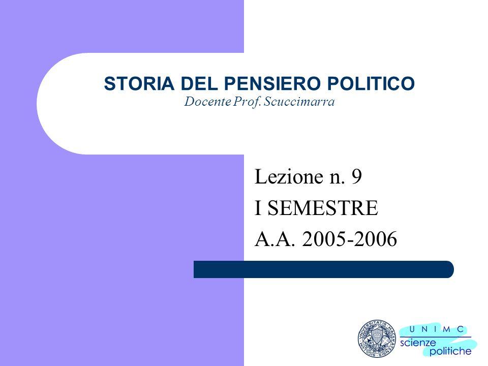 STORIA DEL PENSIERO POLITICO Docente Prof. Scuccimarra