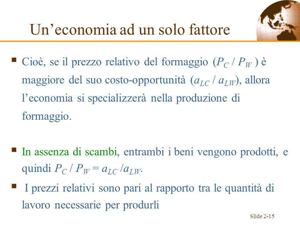 Un'economia ad un solo fattore