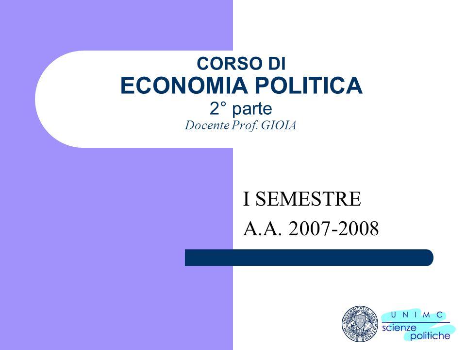 CORSO DI ECONOMIA POLITICA 2° parte Docente Prof. GIOIA
