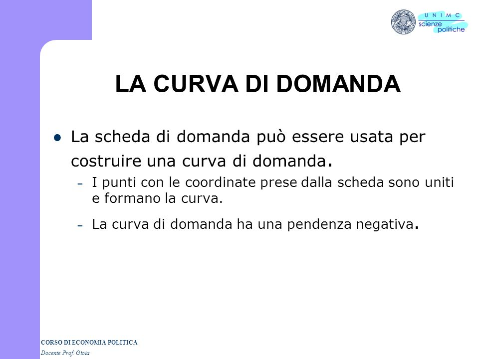 LA CURVA DI DOMANDA La scheda di domanda può essere usata per costruire una curva di domanda.