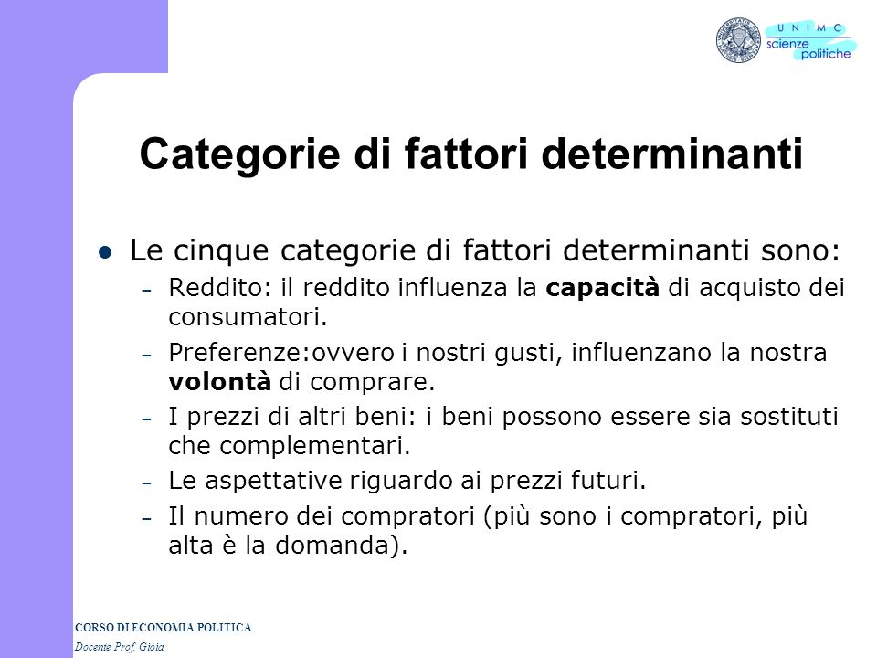 Categorie di fattori determinanti