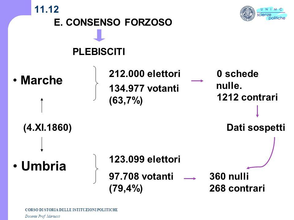 Umbria Marche 11.12 E. CONSENSO FORZOSO PLEBISCITI 212.000 elettori