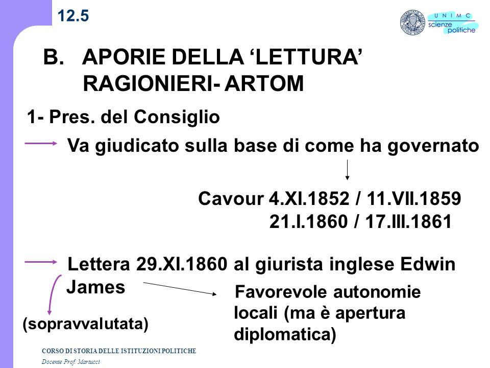 B. APORIE DELLA 'LETTURA' RAGIONIERI- ARTOM