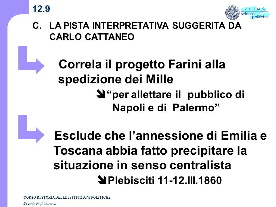 12.9 C. LA PISTA INTERPRETATIVA SUGGERITA DA CARLO CATTANEO.