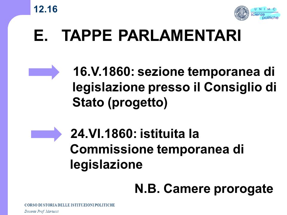 12.16 E. TAPPE PARLAMENTARI. 16.V.1860: sezione temporanea di legislazione presso il Consiglio di Stato (progetto)