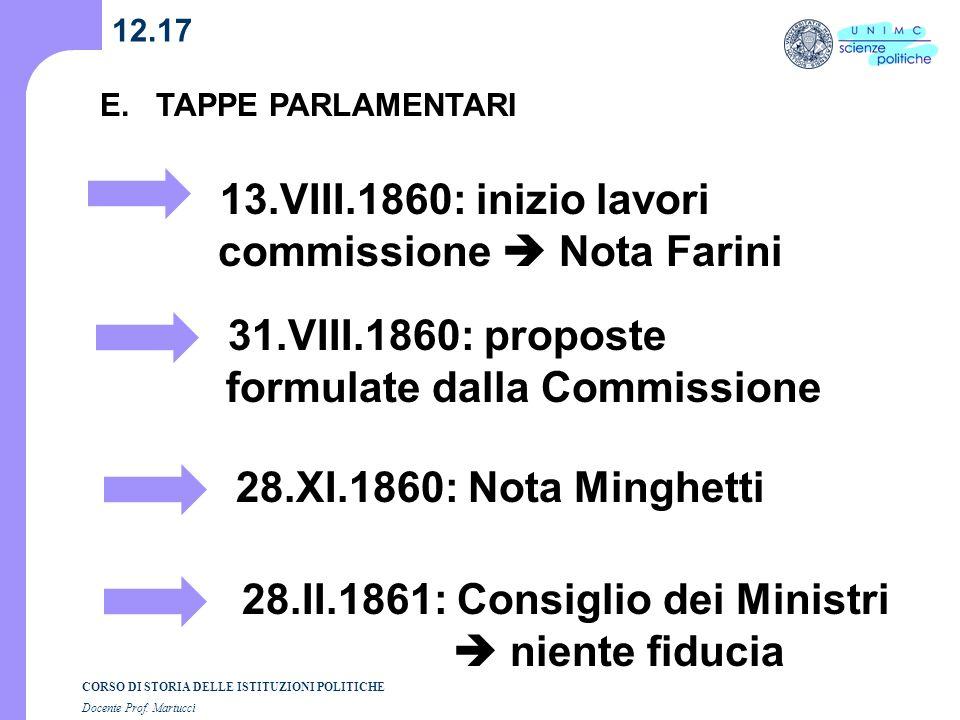 13.VIII.1860: inizio lavori commissione  Nota Farini