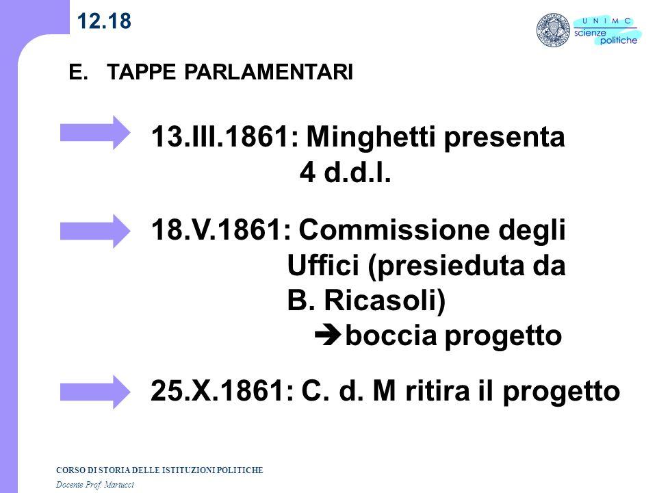13.III.1861: Minghetti presenta 4 d.d.l.