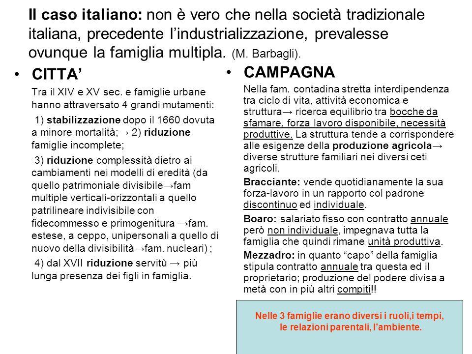 Il caso italiano: non è vero che nella società tradizionale italiana, precedente l'industrializzazione, prevalesse ovunque la famiglia multipla. (M. Barbagli).