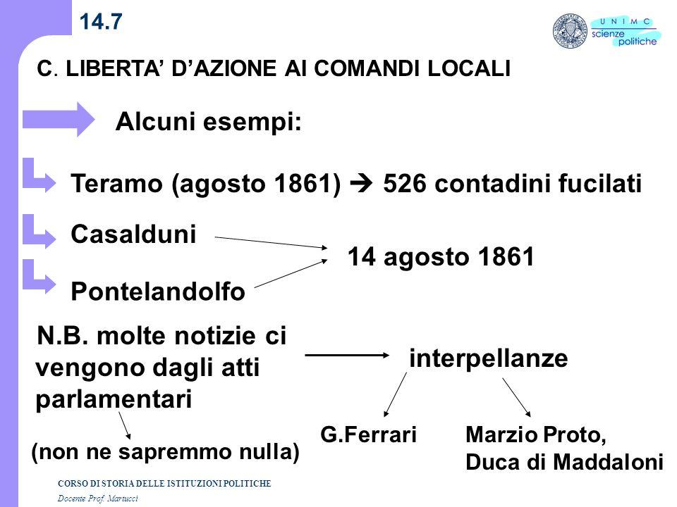 Teramo (agosto 1861)  526 contadini fucilati